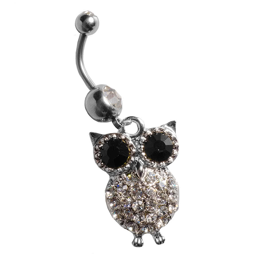 Blue Banana Owl Navel Bar (Crystal)