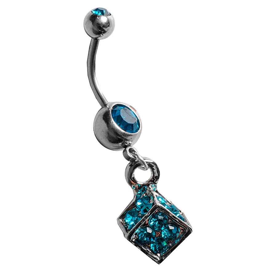 Blue Banana Cube Navel Bar (Zircon)