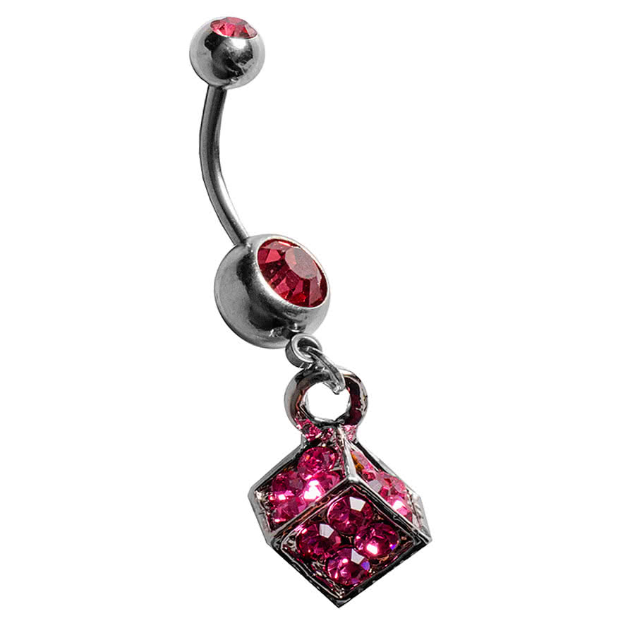 Blue Banana Cube Navel Bar (Rose)