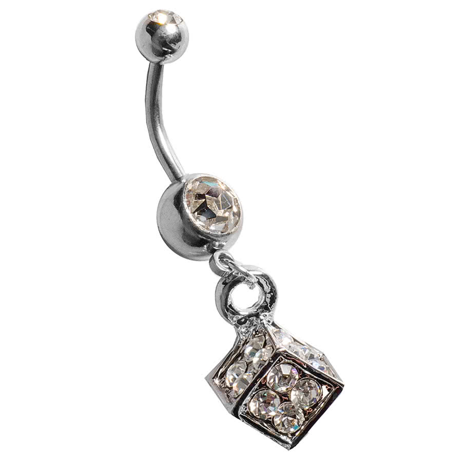 Blue Banana Cube Navel Bar (Crystal)