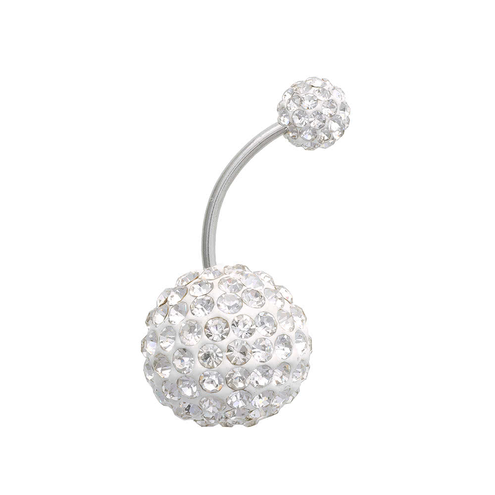 Blue Banana Large Glitter Ball Navel Bar (Crystal)