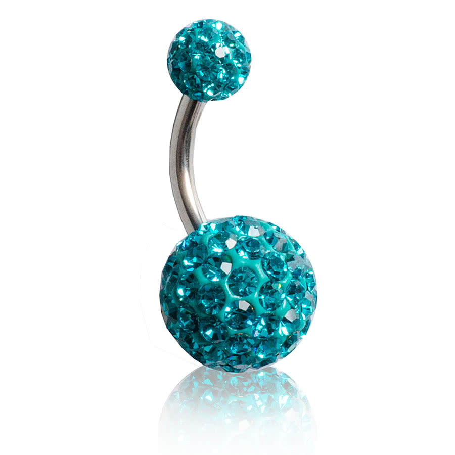 Blue Banana Large Glitter Ball Navel Bar (Zircon)