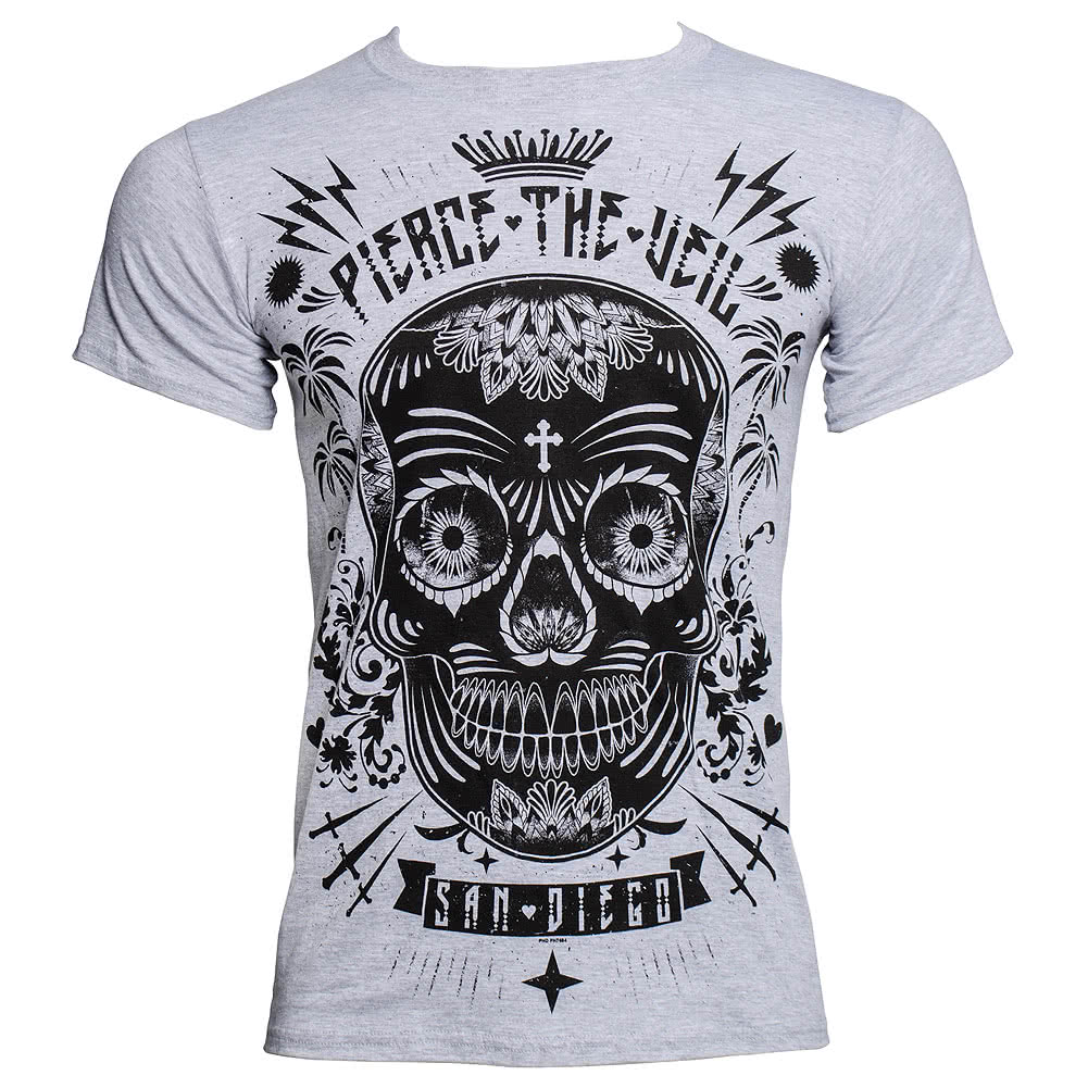 Pierce The Veil Sugar Skull T Shirt (Grey)