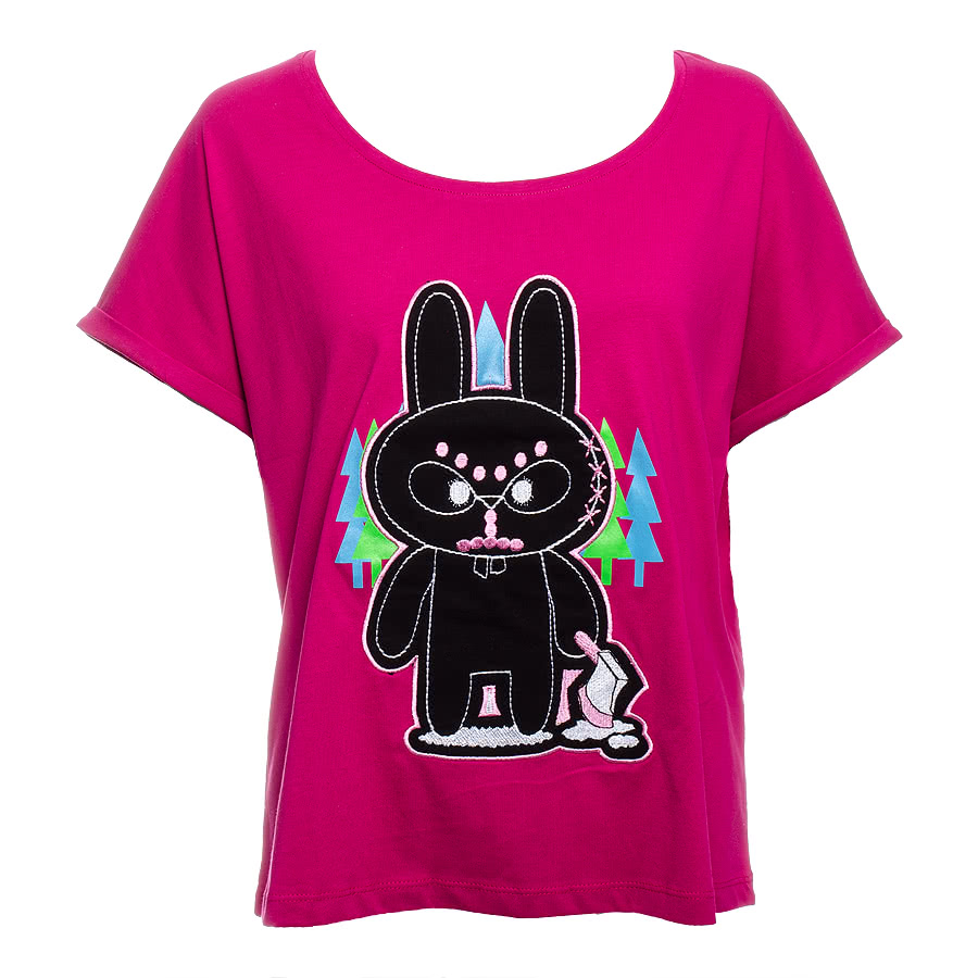 Flip Flop & Fangs Fur Teeth Baggy Top (Pink)