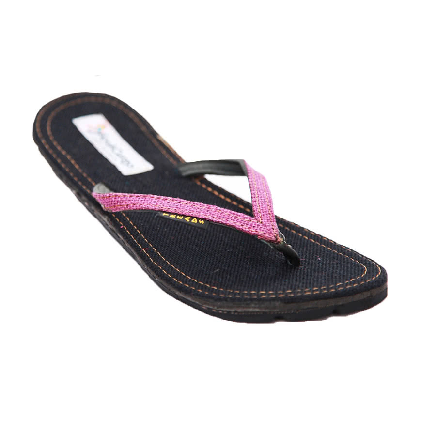 Maasai Treads Ladies Flip Flops (Black/Purple)