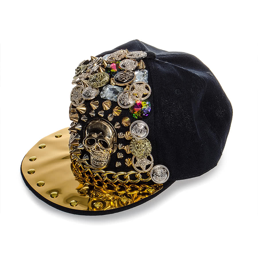 Blue Banana Spikes and Buttons Hat (Black)