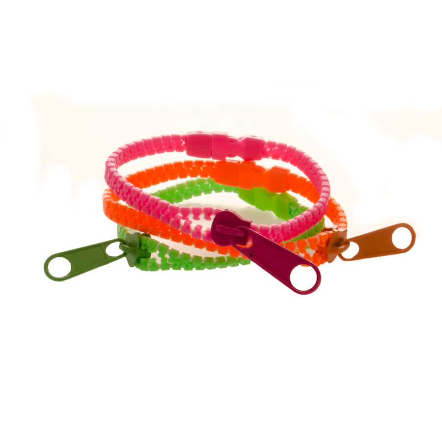 Blue Banana Zipper Bracelet (Green/Orange)