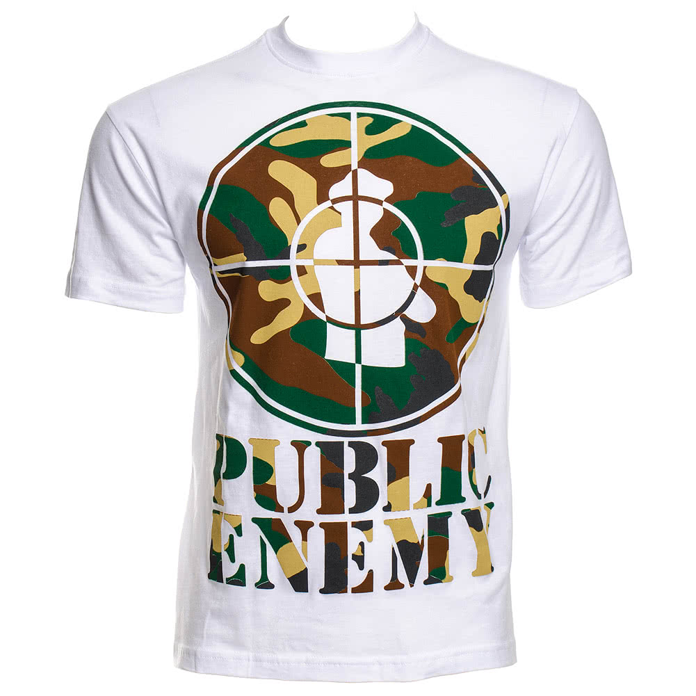 Amplified Public Enemy Camouflage T Shirt (White)