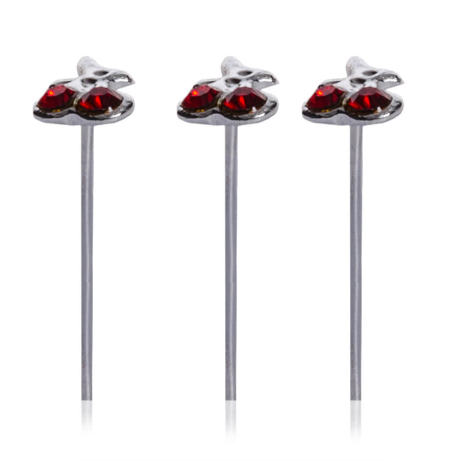 Blue Banana Set of 3 Cherry Nose Studs 0.5 x 10mm (Red)