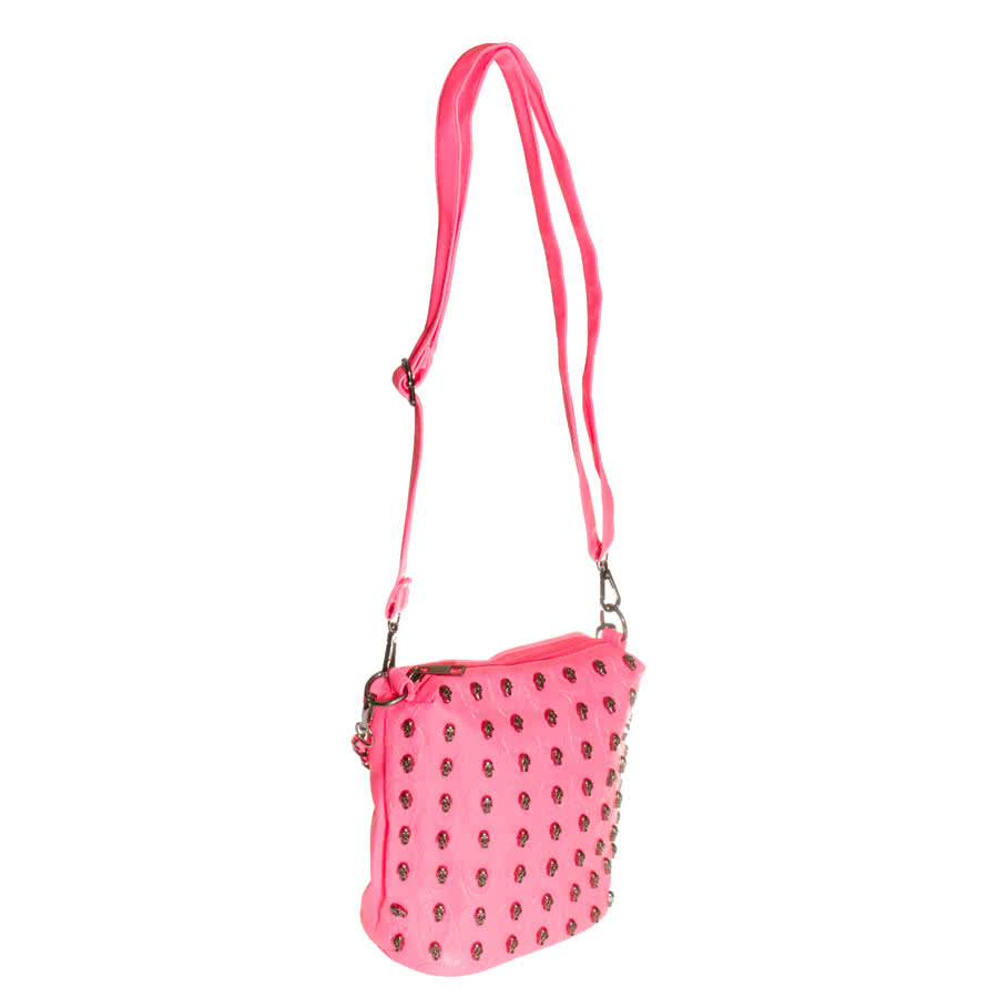 Details about Blue Banana Bags Uv Pink Skull Studded Shoulder Bag ...