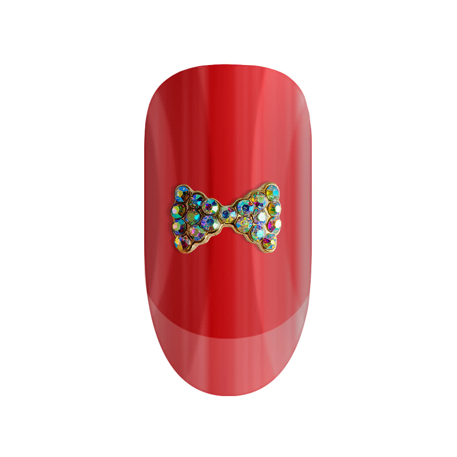 Blue Banana Pack of Two Gold Glitter Bow 3D Nail Art