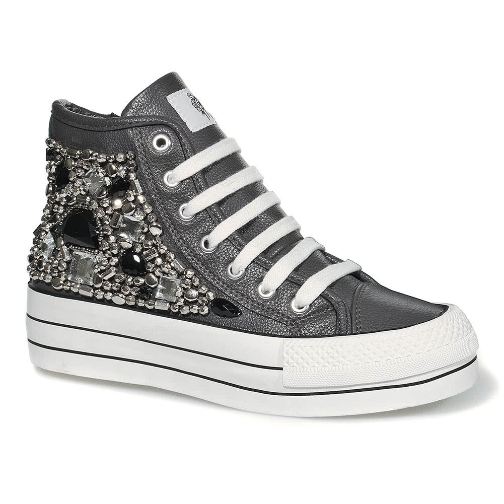 Bleeding Heart Zip & Bead Platform Hi Top (Grey)