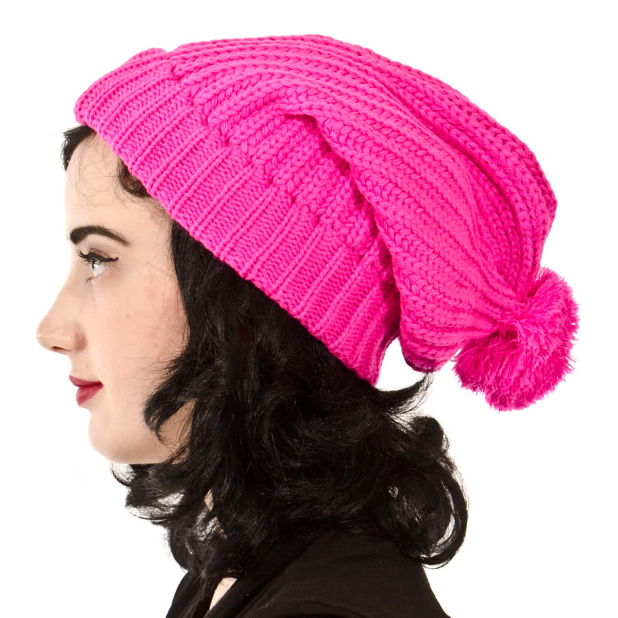 Blue Banana Bobble Slouch Beanie (Pink)