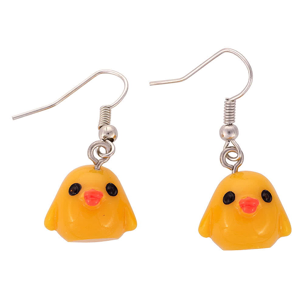 Blue Banana Bird Earrings (Yellow)