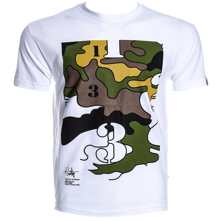 Addict Swifty Stencil Camo T Shirt (White)