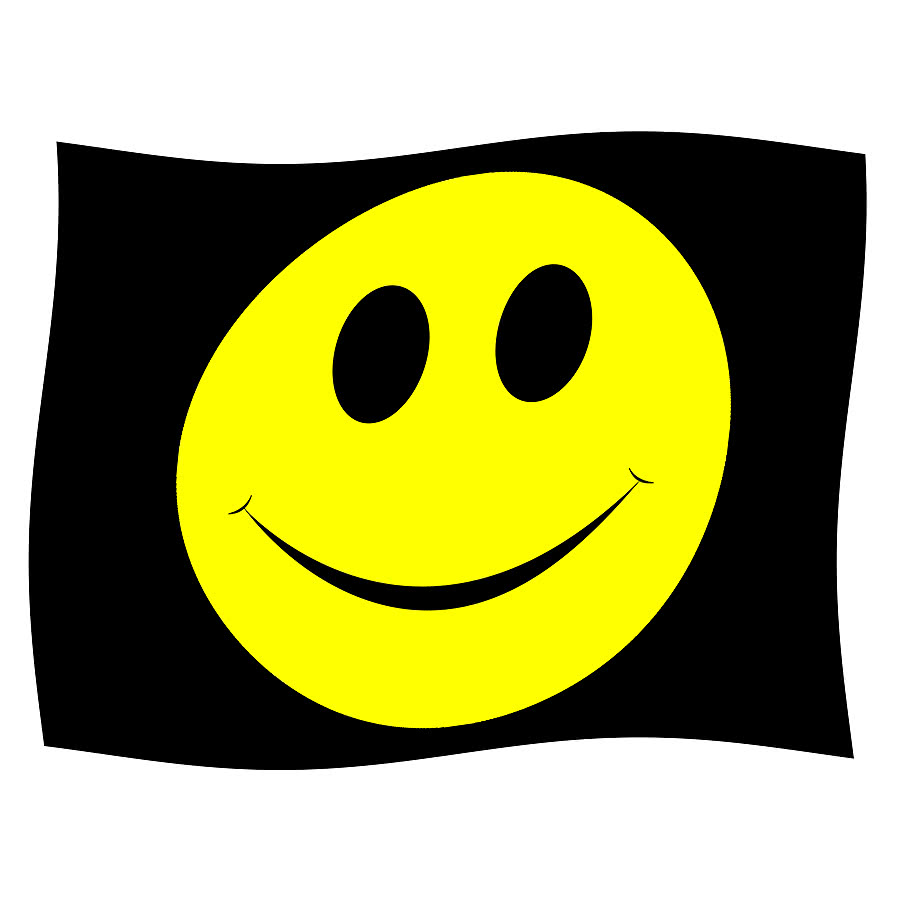 Blue Banana Smiley Flag (Black)