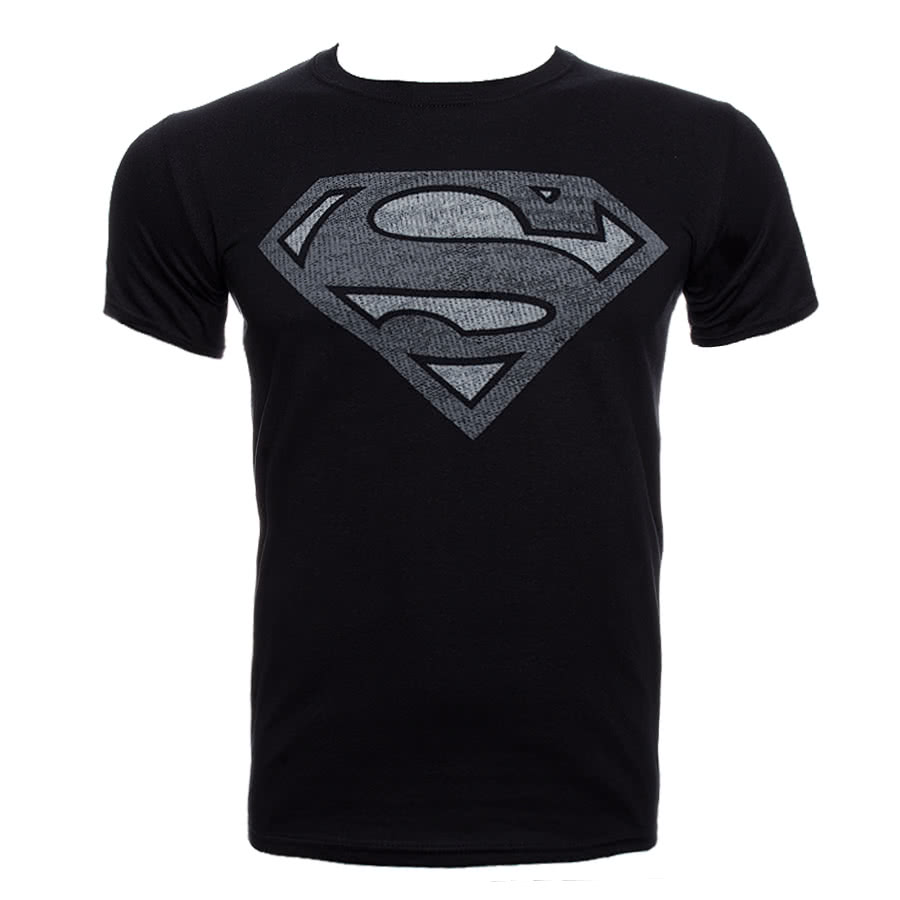 DC Comics Superman Vintage Silver T Shirt (Black)