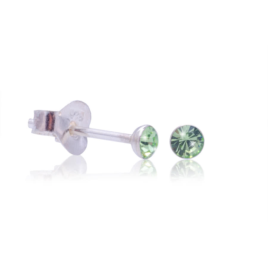 Blue Banana Swarovski Elements August Birthstone Silver Earrings (Green)