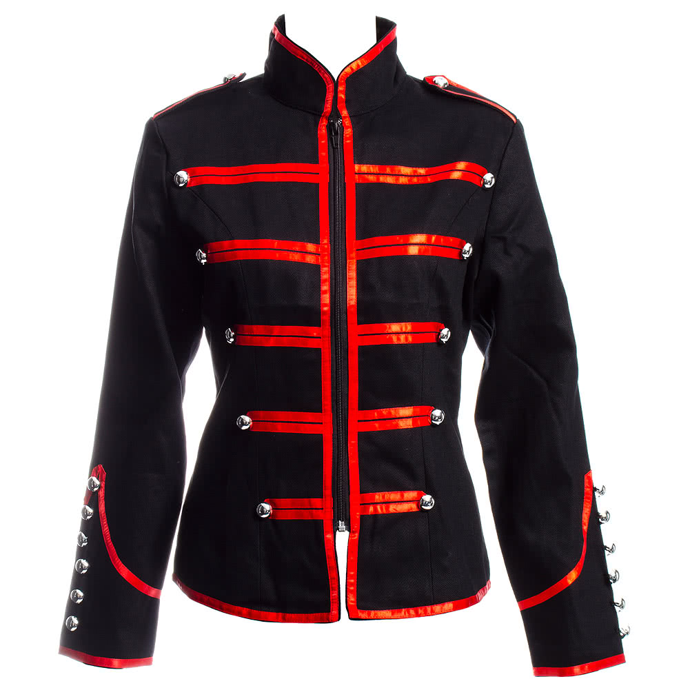 Banned Short Military Jacket (Black/Red)