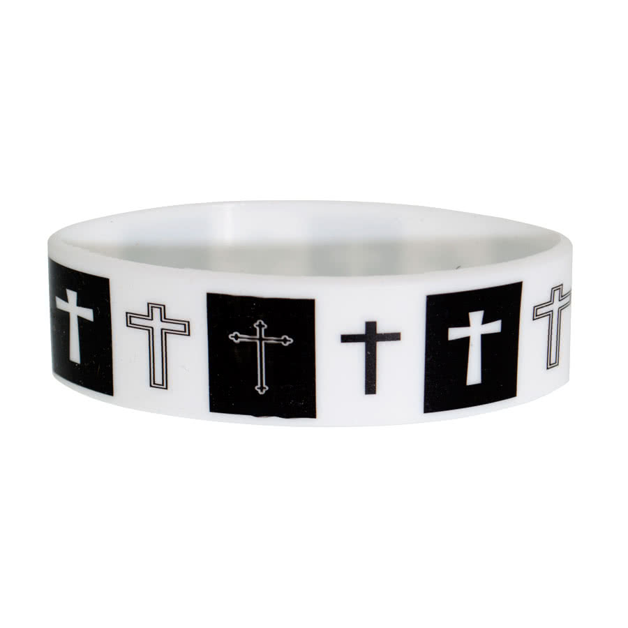 Blue Banana Crosses Wristband (Black/White)