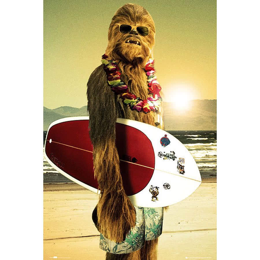 Star Wars Chewie Surf Poster