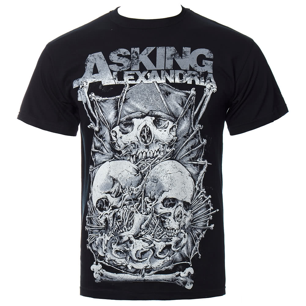 Asking Alexandria Skull Stack T Shirt (Black)