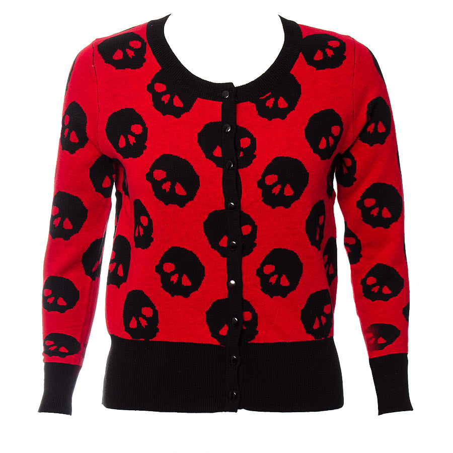 Jawbreaker Skulls Cardigan  (Red/Black)