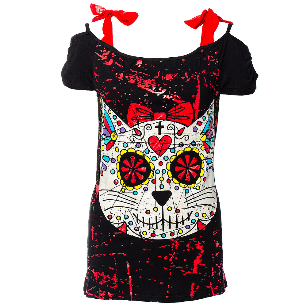 Banned Kitty Skull Top (Black)