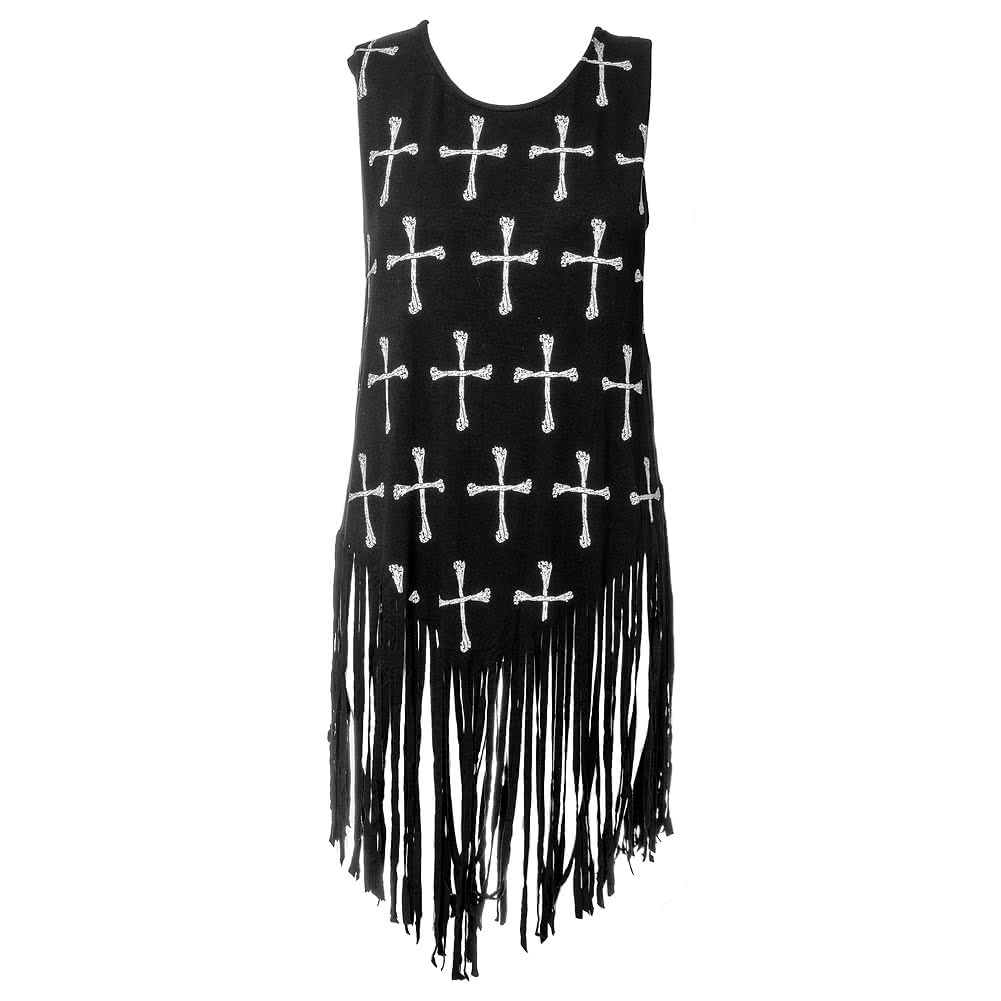 Banned White Cross Shred Vest (Black)