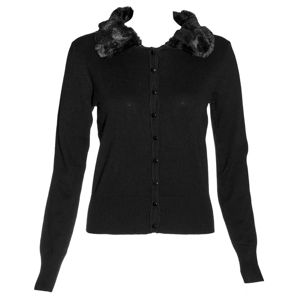 Voodoo Vixen Rose Collar Cardigan (Black)