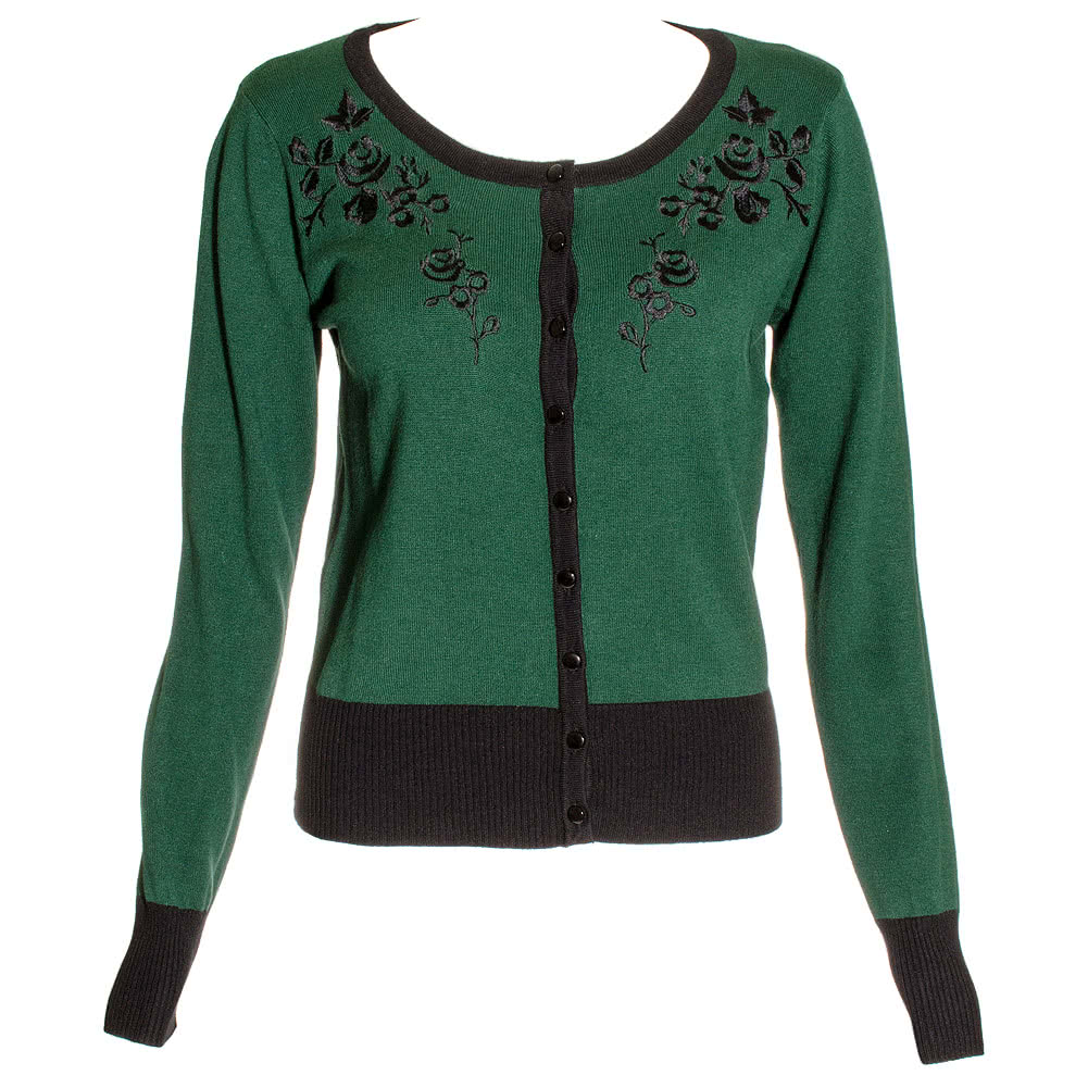 Voodoo Vixen Tammy Flowers Cardigan (Green)