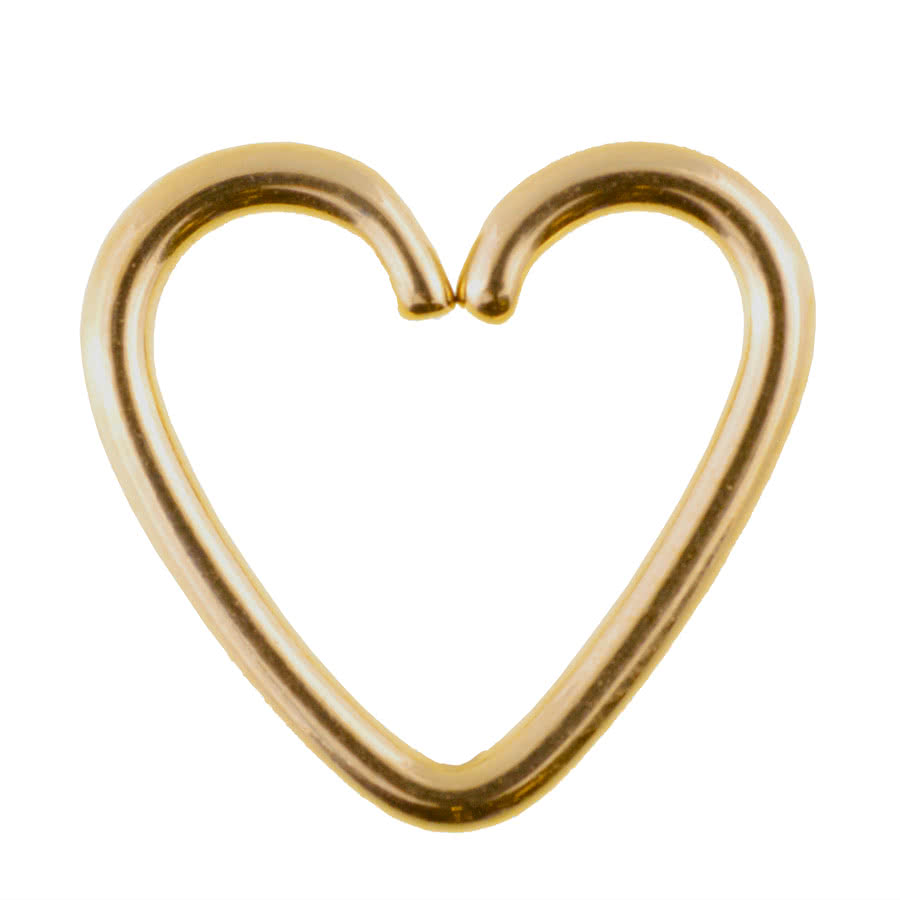 Steel 1.2mm x 10mm Daith Heart Ring (Gold)