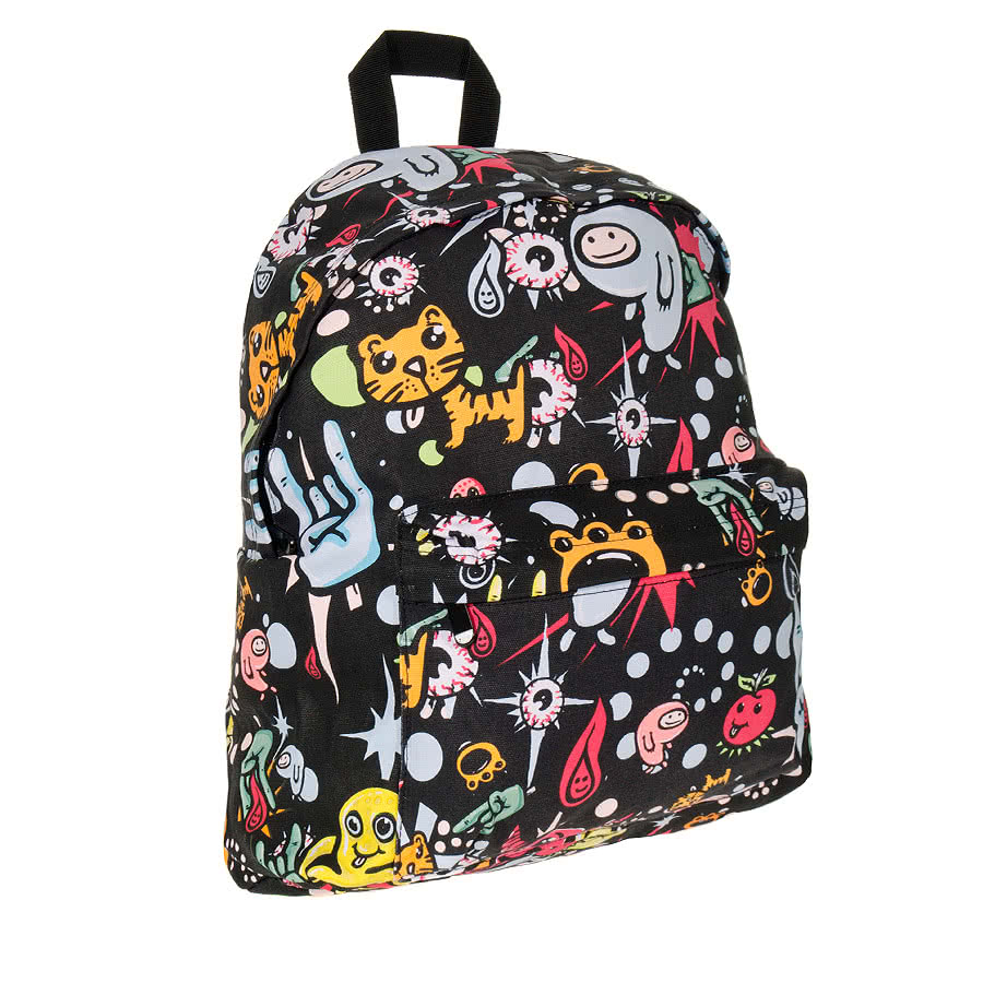 Bleeding Heart Canvas Monster Print Backpack (Multi-Coloured)