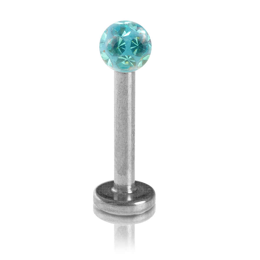 Blue Banana Glitter Ball 1.2mm Labret (Zircon Blue)