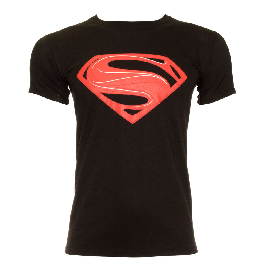 DC Comics Superman Man Of Steel Red Logo T Shirt (Black)