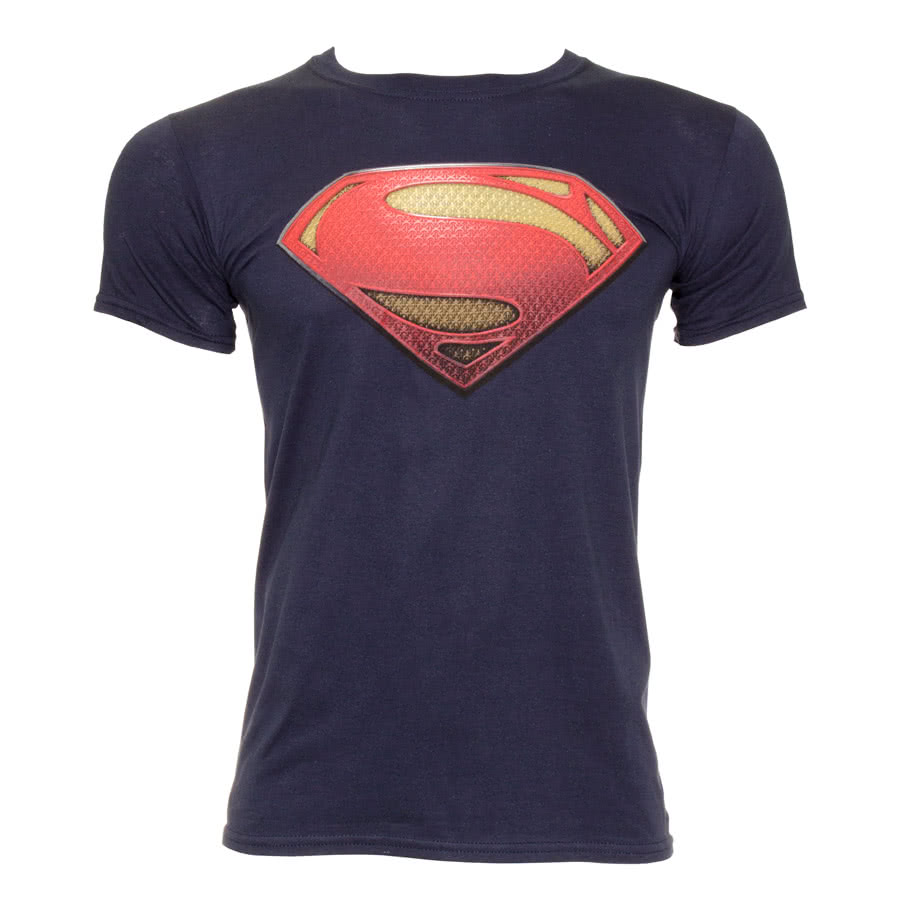 DC Comics Superman Man Of Steel Tex Logo T Shirt (Navy)