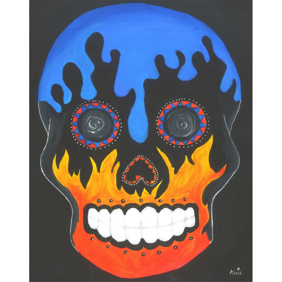 Arnie's Art Single Fire Drip Skull Card (Black)