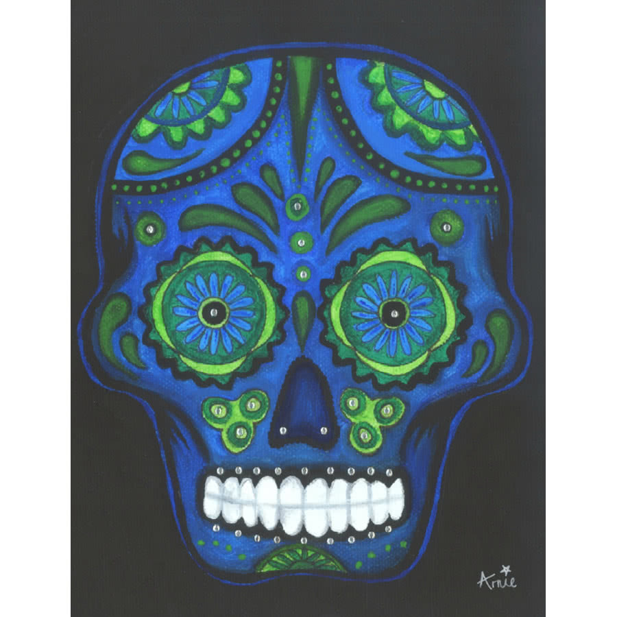 Arnie's Art Single Blue/Green Skull Card (Black)