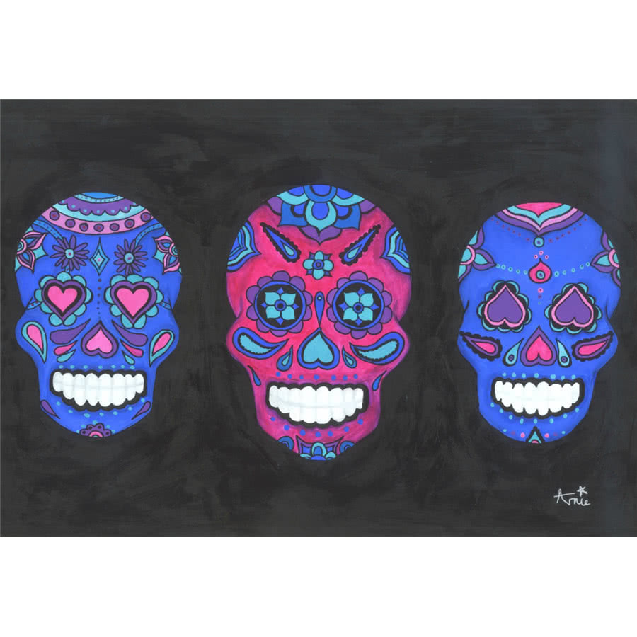 Arnie's Art Single Three Skulls Card (Black)
