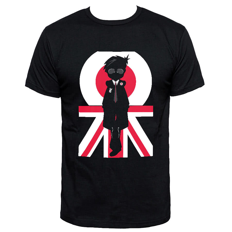 Blue Banana Silhouette Union Jack Mod T Shirt (Black)