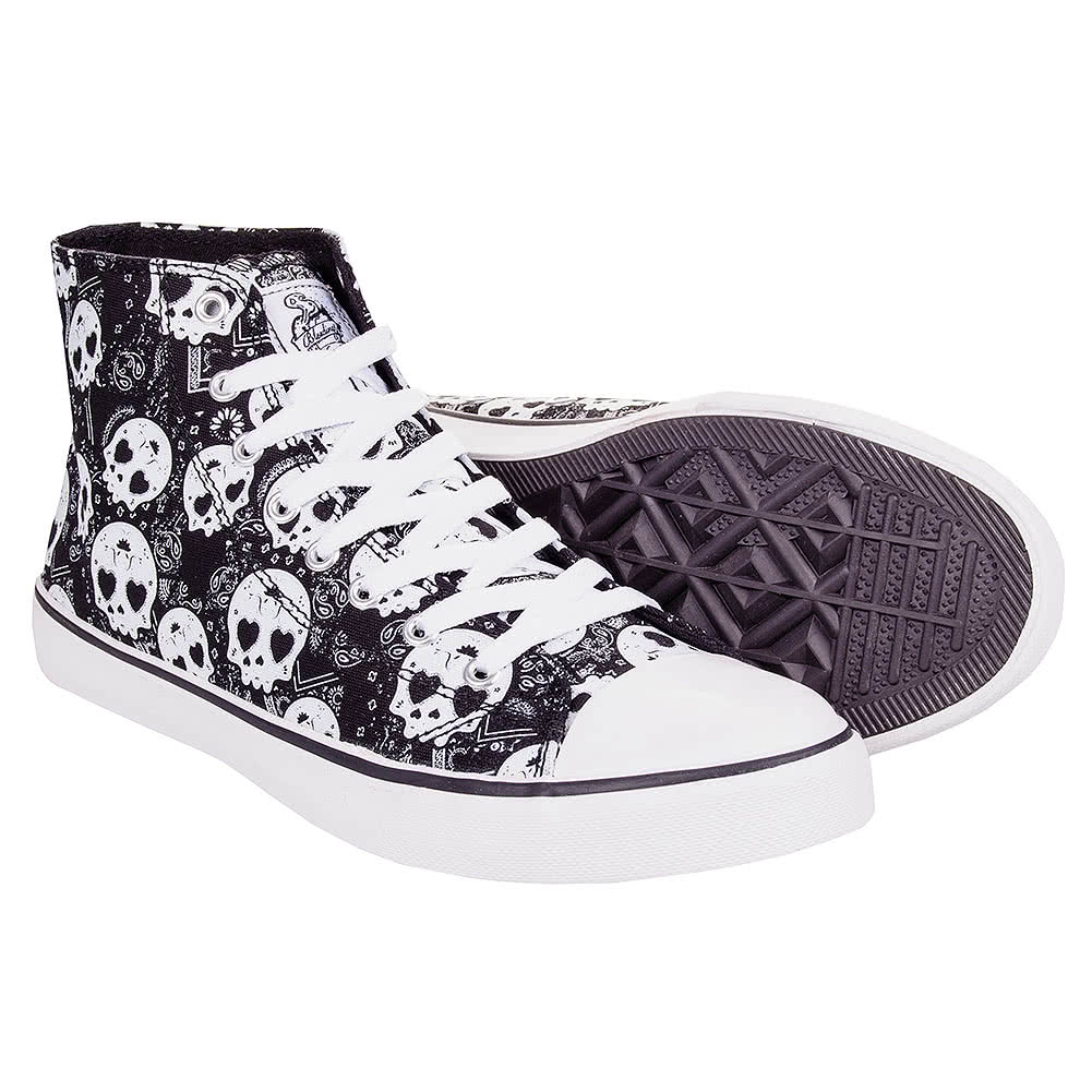 Bleeding Heart Sugar Skull Boots (Grey)