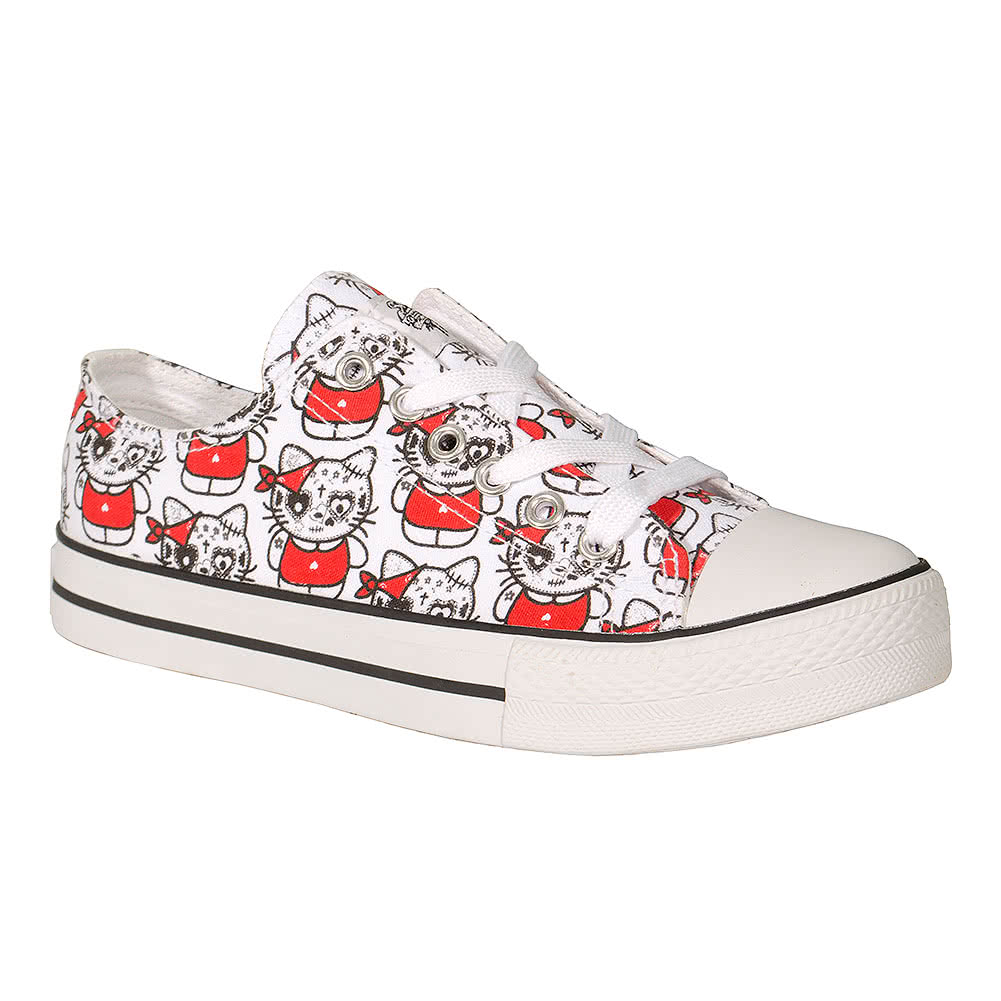 Bleeding Heart Kat Print Shoes (White)