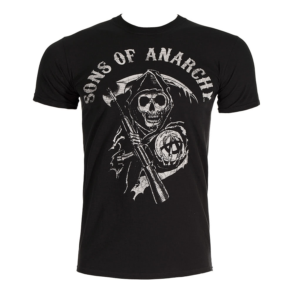 sons of anarchy main logo t shirt black blue banana uk. Black Bedroom Furniture Sets. Home Design Ideas