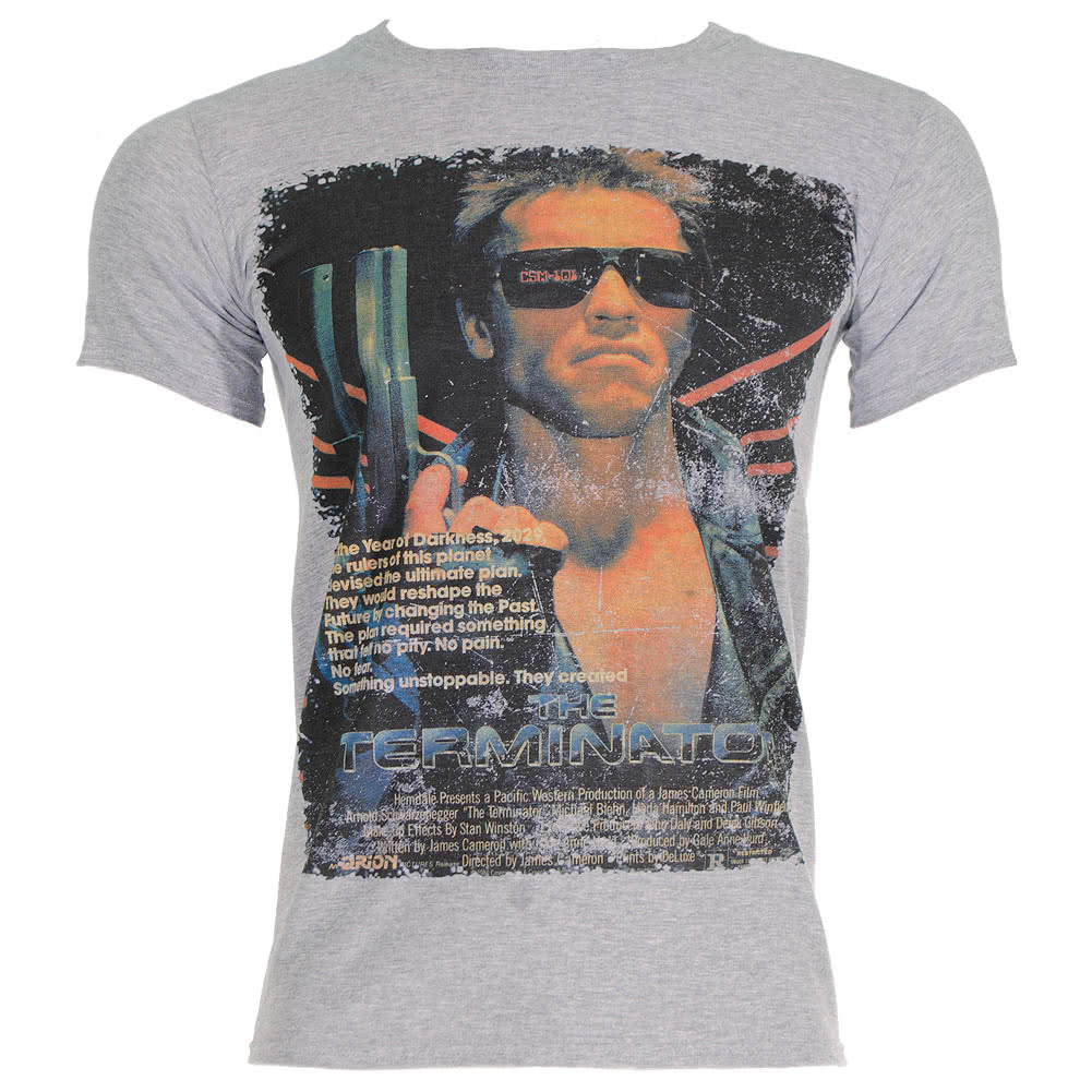 The Terminator Vintage Poster T Shirt (Grey)