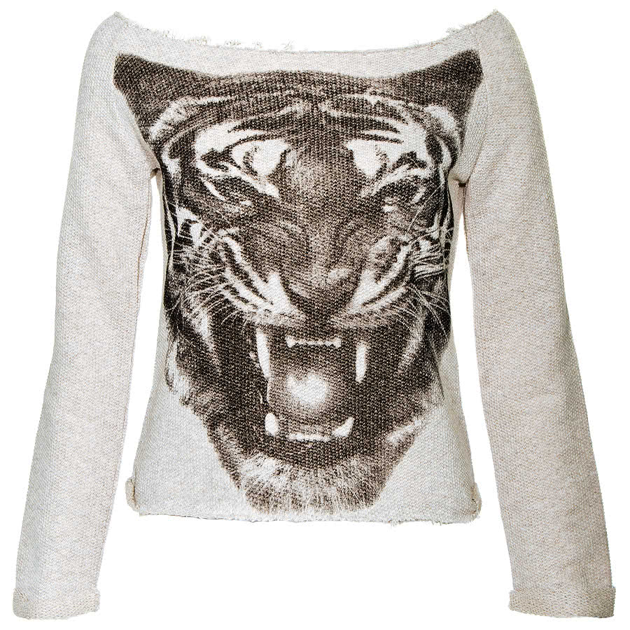 S Ponder Tiger Face Sweatshirt (Cream)
