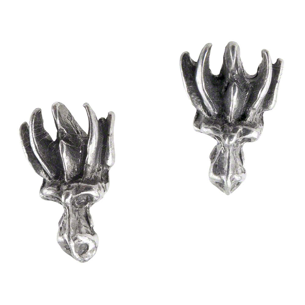 Alchemy Gothic Dragons Lure Stud Earrings (Silver)
