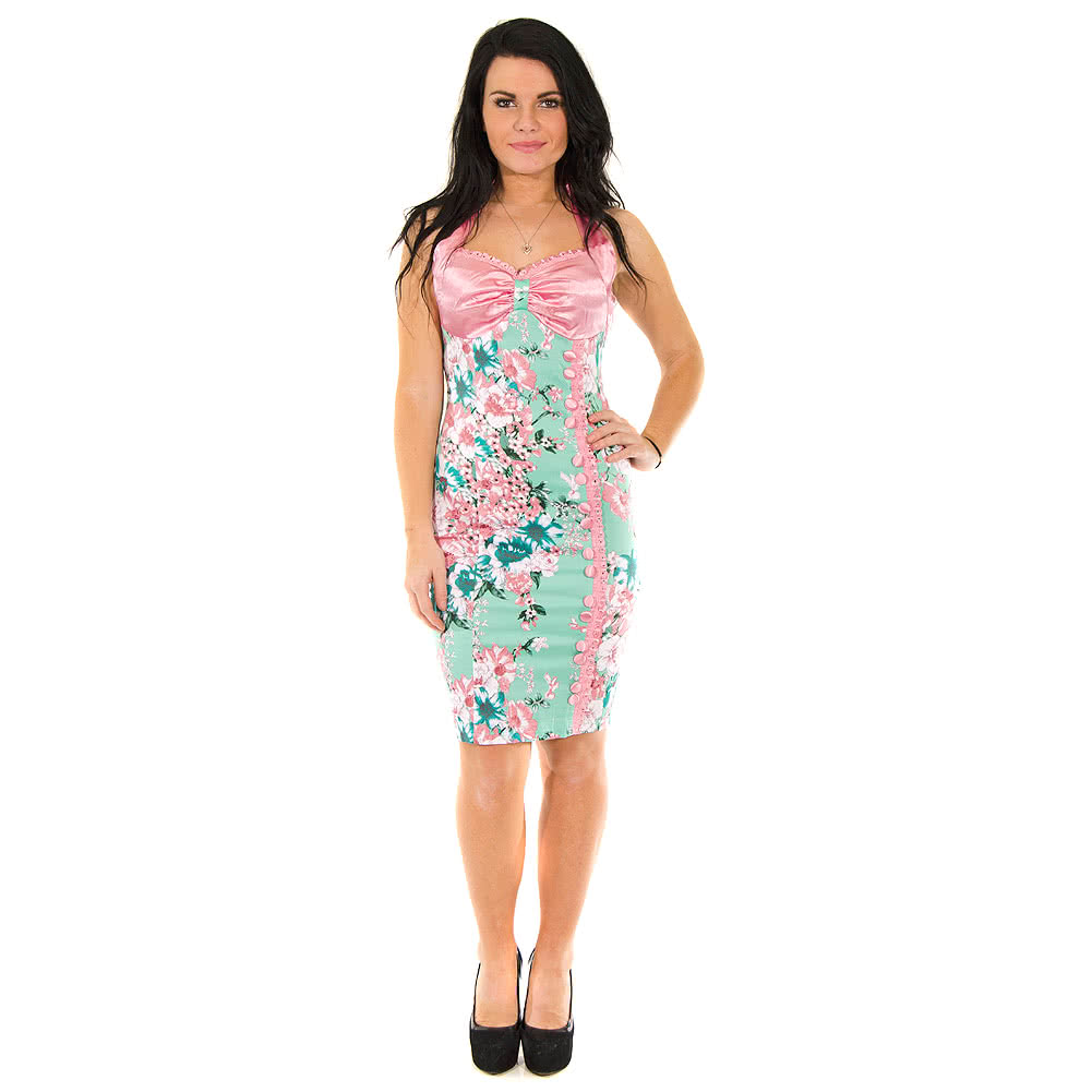 Voodoo Vixen Mary Pencil Dress (Green/Pink)