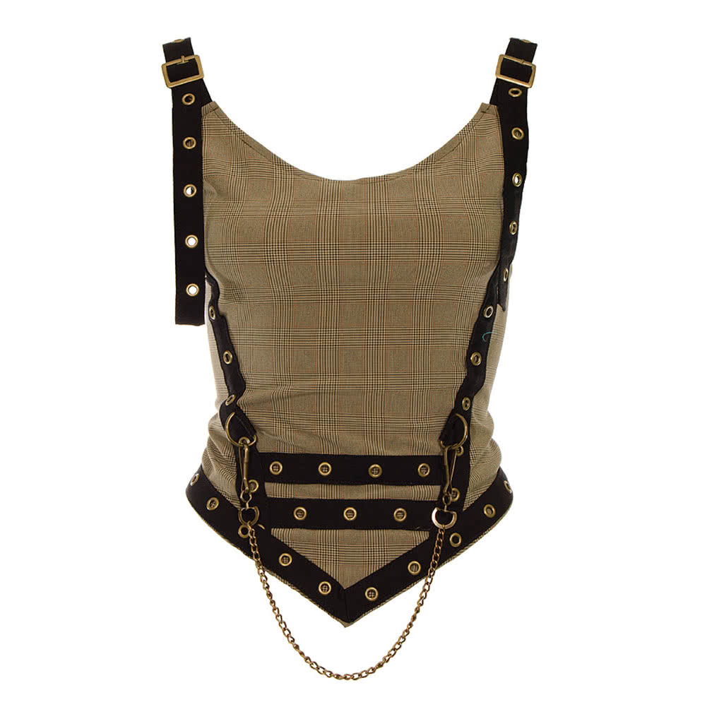 Golden Steampunk Lady Wales Chain Top (Brown)