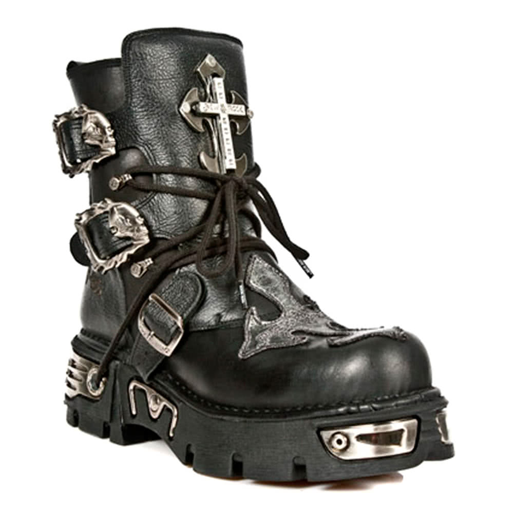 New Rock Boots Ankle High Style M1033-S1 (Black)
