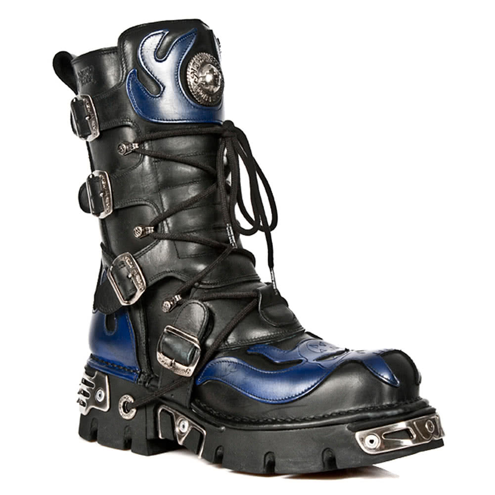 New Rock Boots Blue Flames Style M107-S5 (Black)
